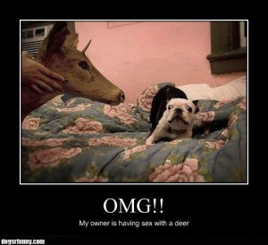 OMG my owner is having sex with a deer funny poster picture 300x274 OMG my owner is having sex with a deer funny poster picture