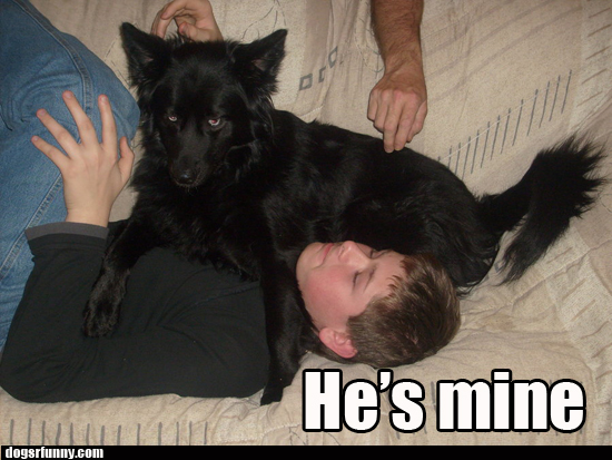 hes mine black dog funny picture Hes Mine